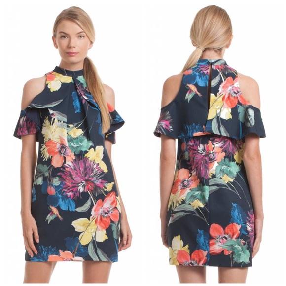 ddf41a7bd51 NWT Trina Turk Graphic Floral Cold Shoulder Dress